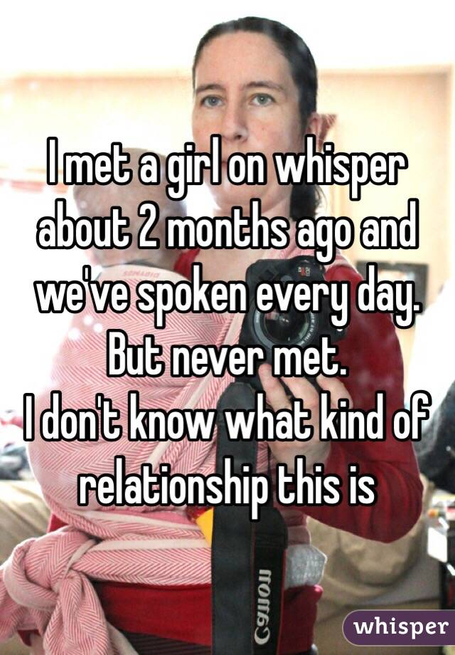 I met a girl on whisper about 2 months ago and we've spoken every day. But never met.  I don't know what kind of relationship this is