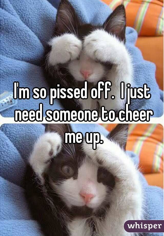 I'm so pissed off.  I just need someone to cheer me up.