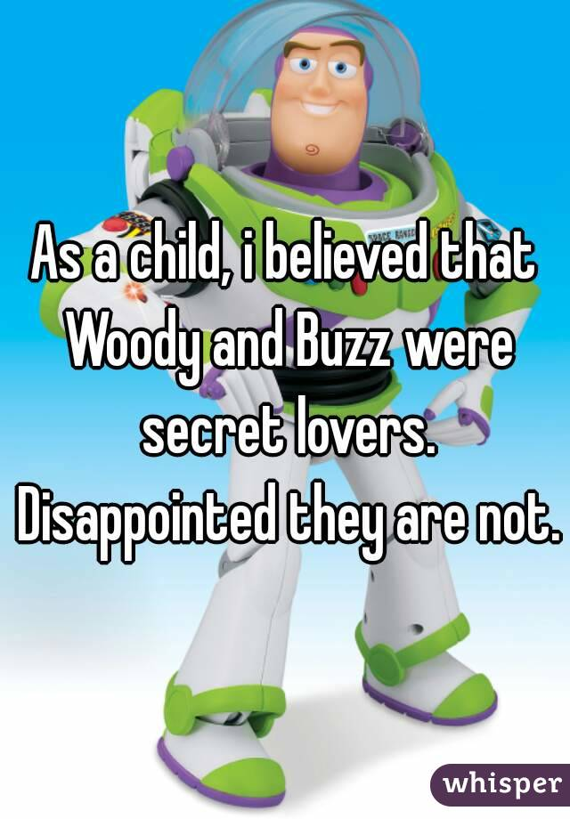 As a child, i believed that Woody and Buzz were secret lovers.  Disappointed they are not.