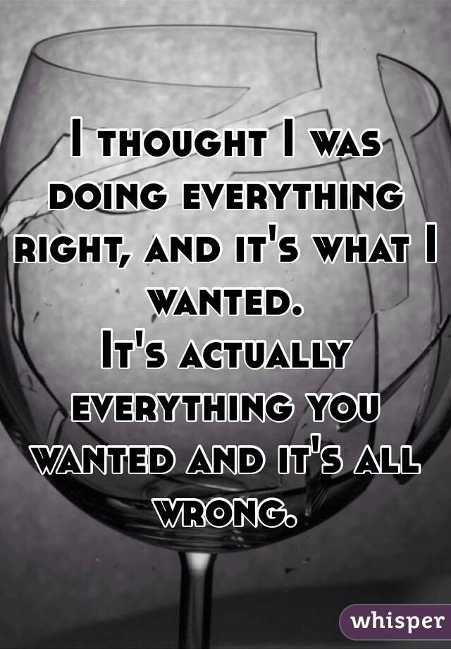 I thought I was doing everything right, and it's what I  wanted. It's actually everything you wanted and it's all wrong.