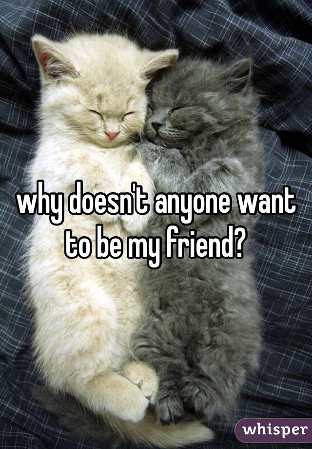 why doesn't anyone want to be my friend?