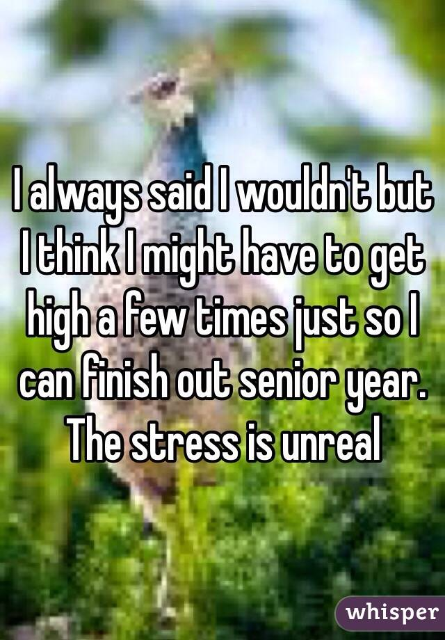 I always said I wouldn't but I think I might have to get high a few times just so I can finish out senior year. The stress is unreal