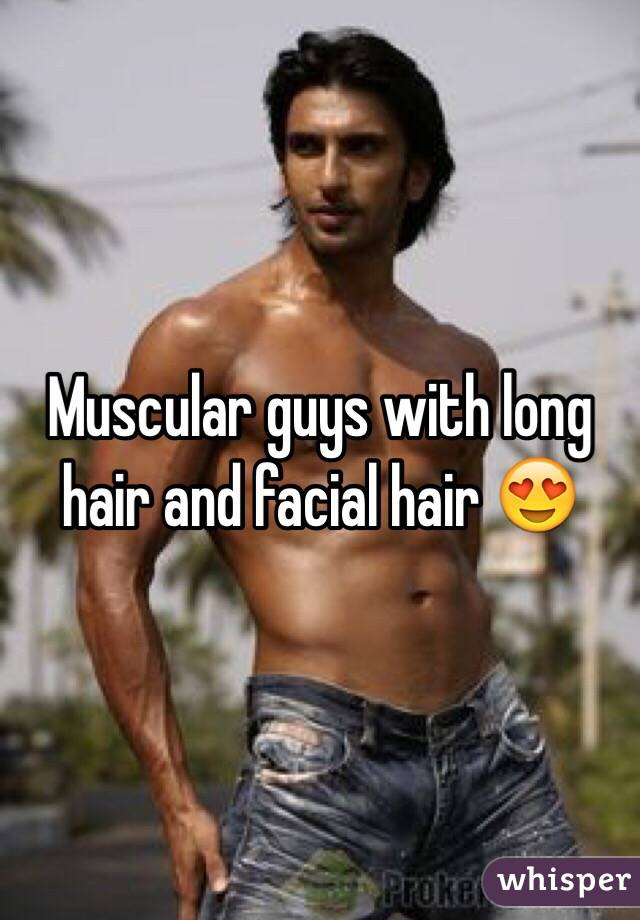 Muscular guys with long hair and facial hair 😍