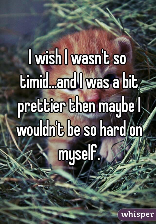I wish I wasn't so timid...and I was a bit prettier then maybe I wouldn't be so hard on myself.