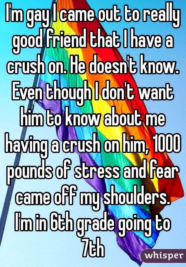 I'm gay I came out to really good friend that I have a crush on. He doesn't know. Even though I don't want him to know about me having a crush on him, 1000 pounds of stress and fear came off my shoulders. I'm in 6th grade going to 7th