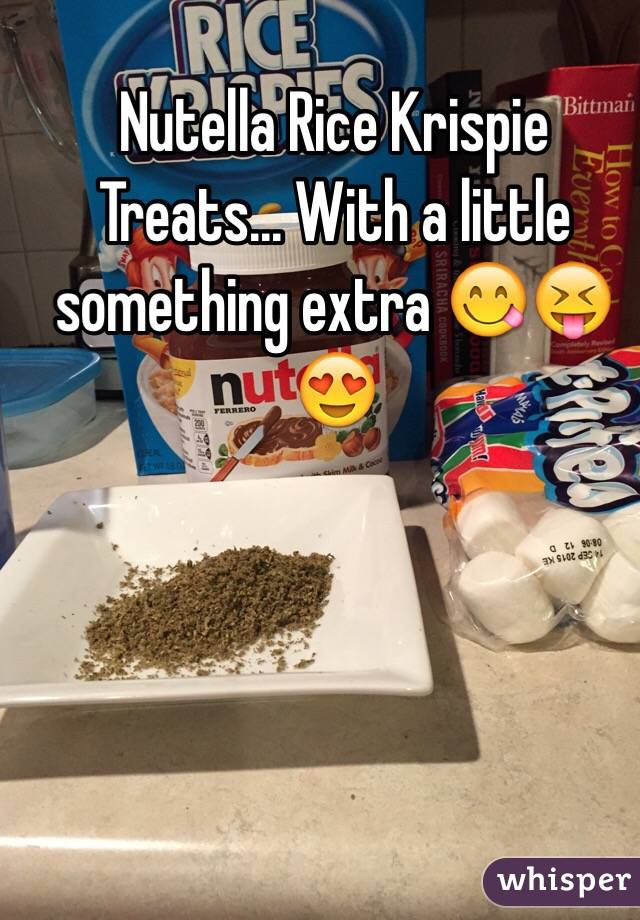 Nutella Rice Krispie Treats... With a little something extra 😋😝😍