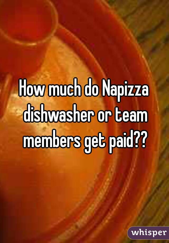 How much do Napizza dishwasher or team members get paid??