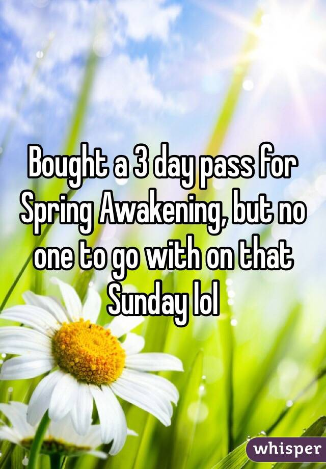 Bought a 3 day pass for Spring Awakening, but no one to go with on that Sunday lol