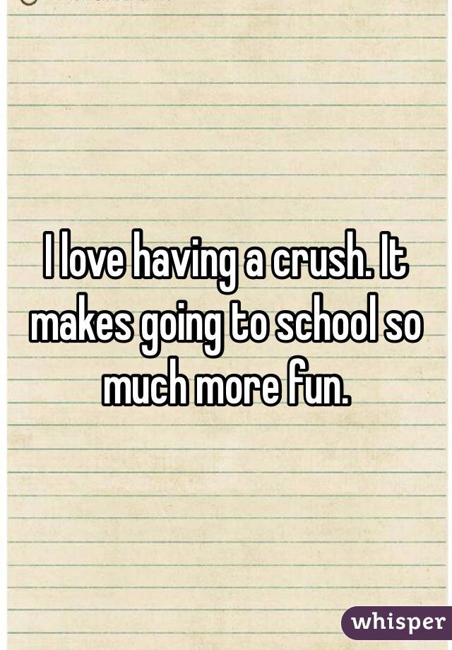 I love having a crush. It makes going to school so much more fun.