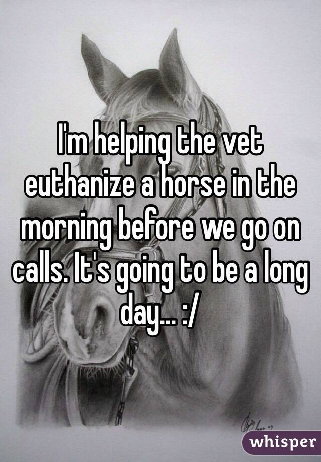 I'm helping the vet euthanize a horse in the morning before we go on calls. It's going to be a long day... :/
