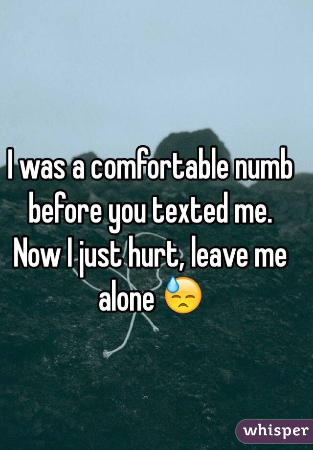 I was a comfortable numb before you texted me. Now I just hurt, leave me alone 😓