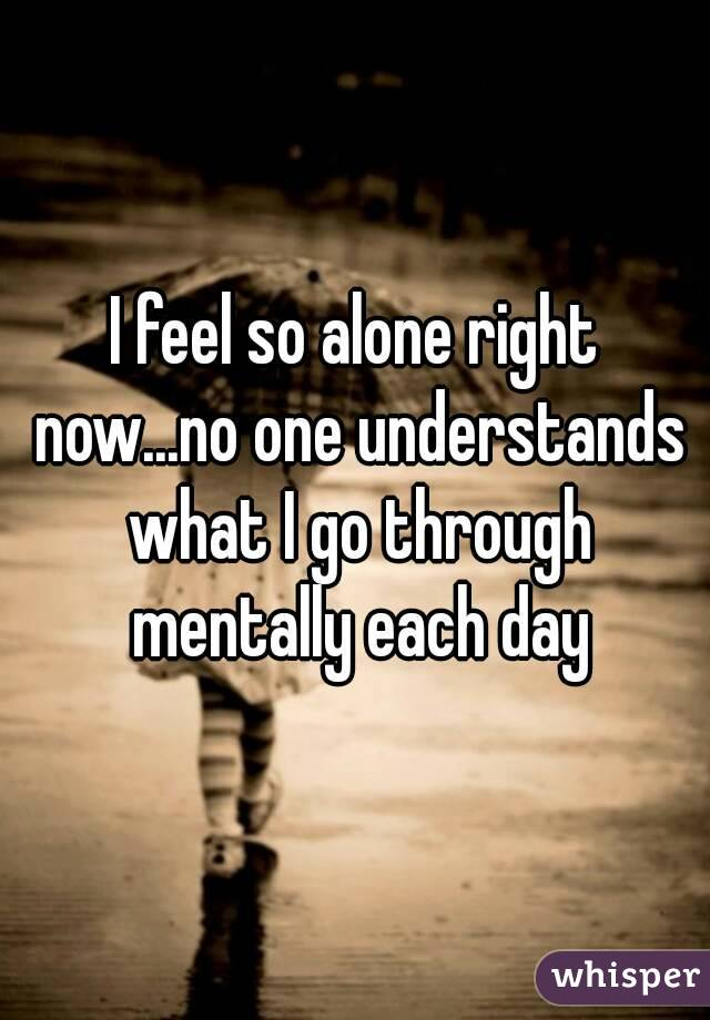I feel so alone right now...no one understands what I go through mentally each day