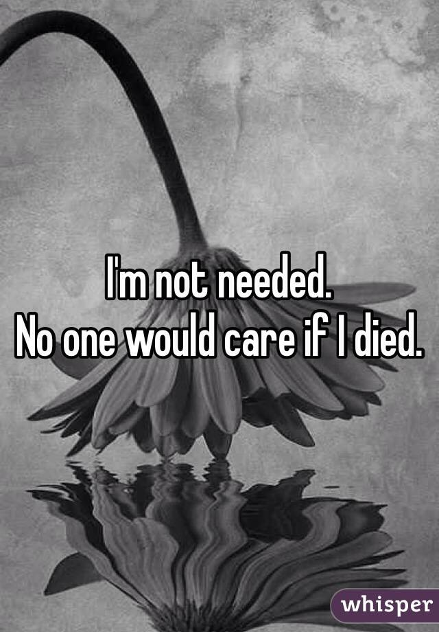 I'm not needed. No one would care if I died.