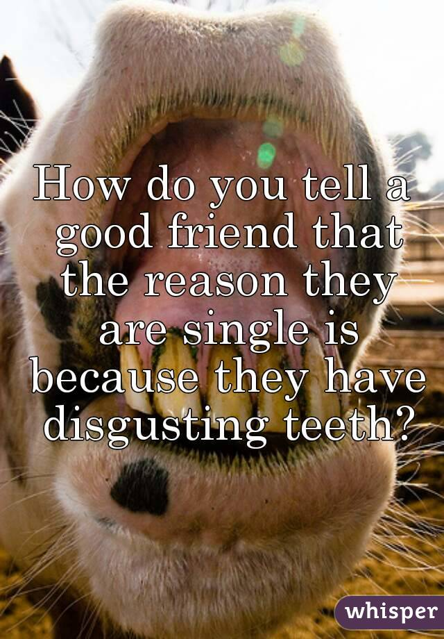 How do you tell a good friend that the reason they are single is because they have disgusting teeth?