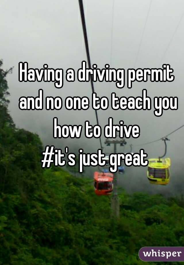 Having a driving permit and no one to teach you how to drive  #it's just great