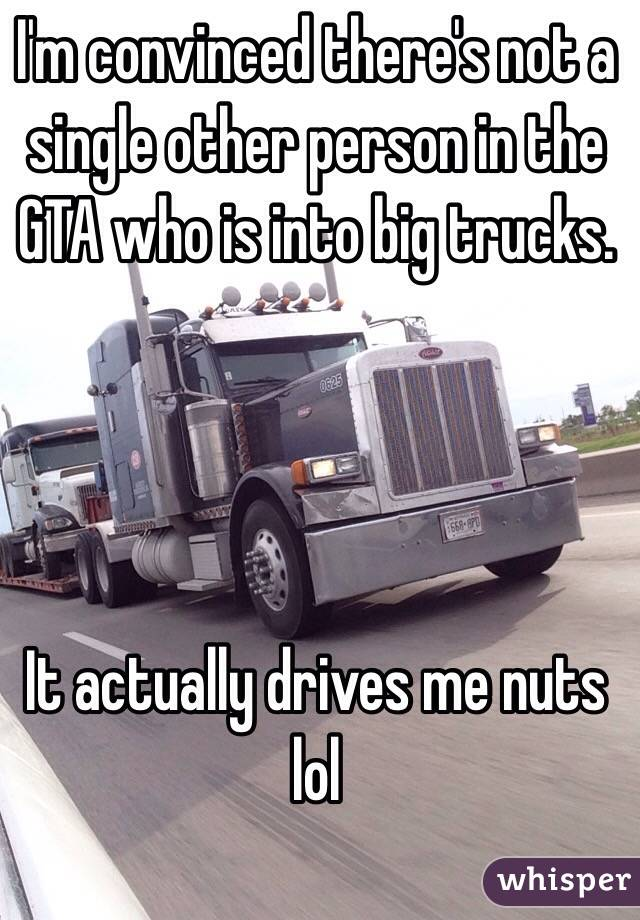 I'm convinced there's not a single other person in the GTA who is into big trucks.     It actually drives me nuts lol