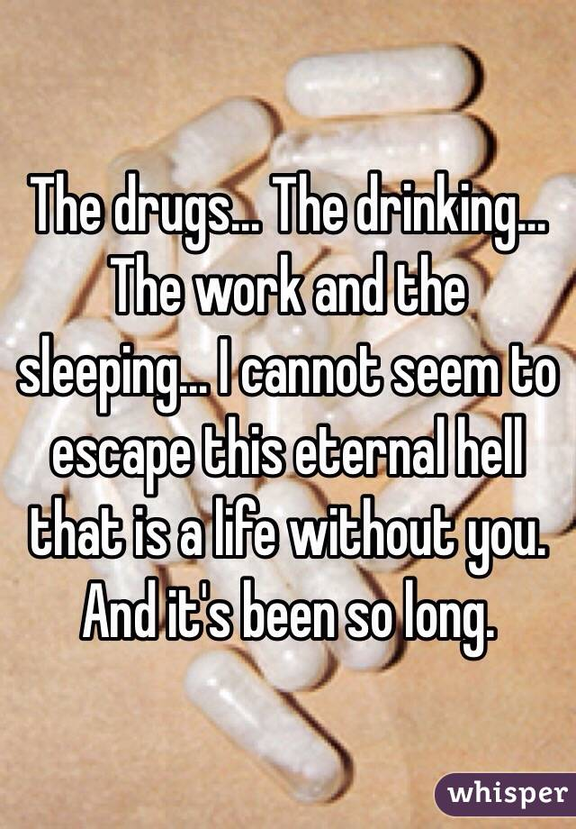 The drugs... The drinking... The work and the sleeping... I cannot seem to escape this eternal hell that is a life without you. And it's been so long.
