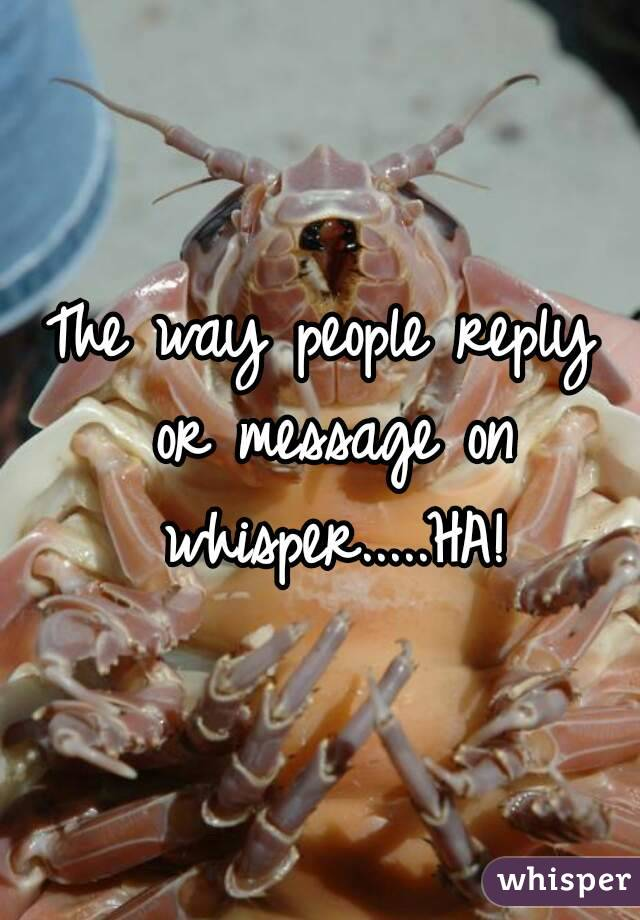 The way people reply or message on whisper.....HA!