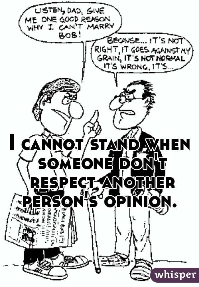 I cannot stand when someone don't respect another person's opinion.