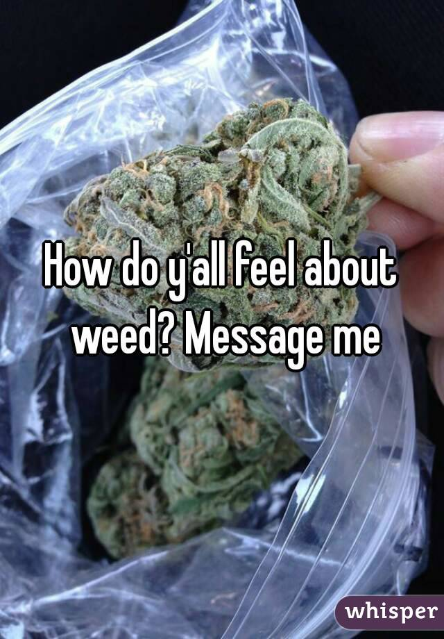 How do y'all feel about weed? Message me