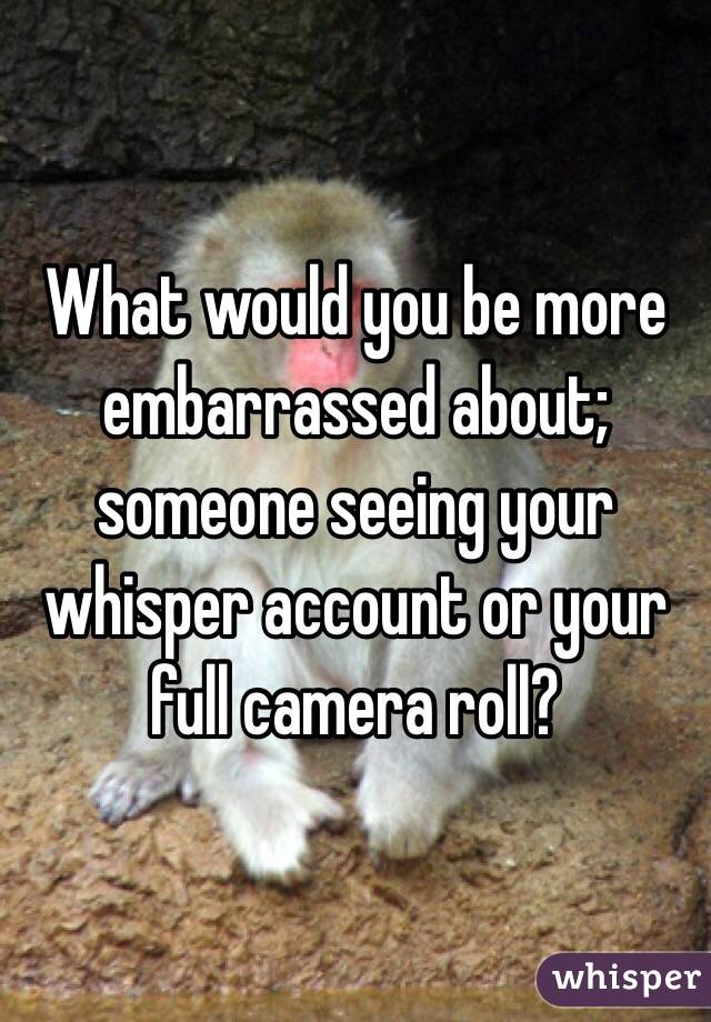 What would you be more embarrassed about; someone seeing your whisper account or your full camera roll?