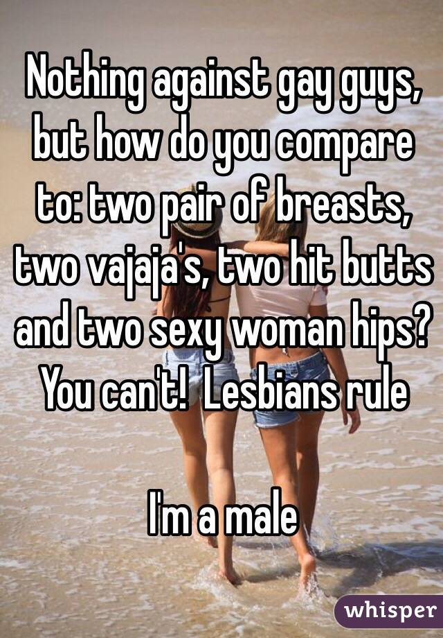 Nothing against gay guys, but how do you compare to: two pair of breasts, two vajaja's, two hit butts and two sexy woman hips?  You can't!  Lesbians rule   I'm a male