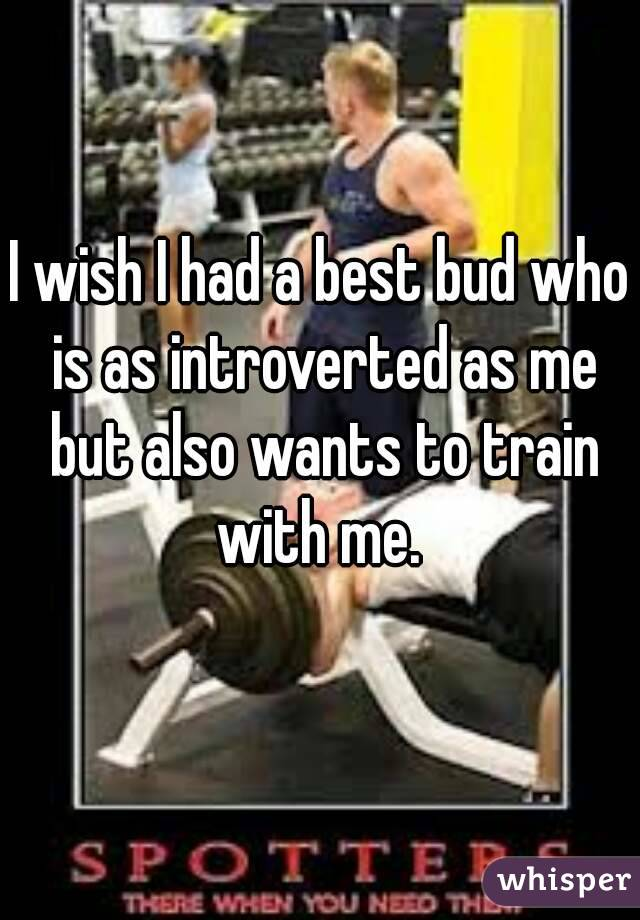 I wish I had a best bud who is as introverted as me but also wants to train with me.