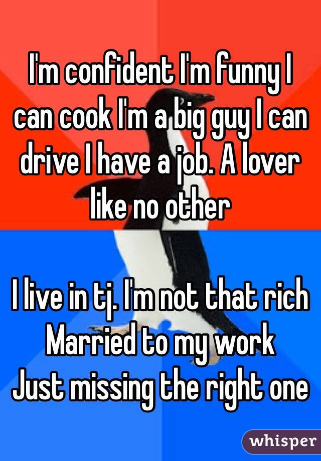 I'm confident I'm funny I can cook I'm a big guy I can drive I have a job. A lover like no other  I live in tj. I'm not that rich Married to my work  Just missing the right one