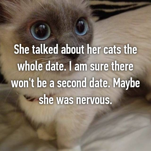 She talked about her cats the whole date. I am sure there won't be a second date. Maybe she was nervous.