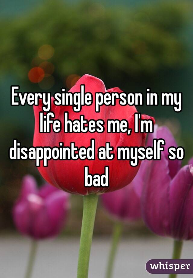Every single person in my life hates me, I'm disappointed at myself so bad