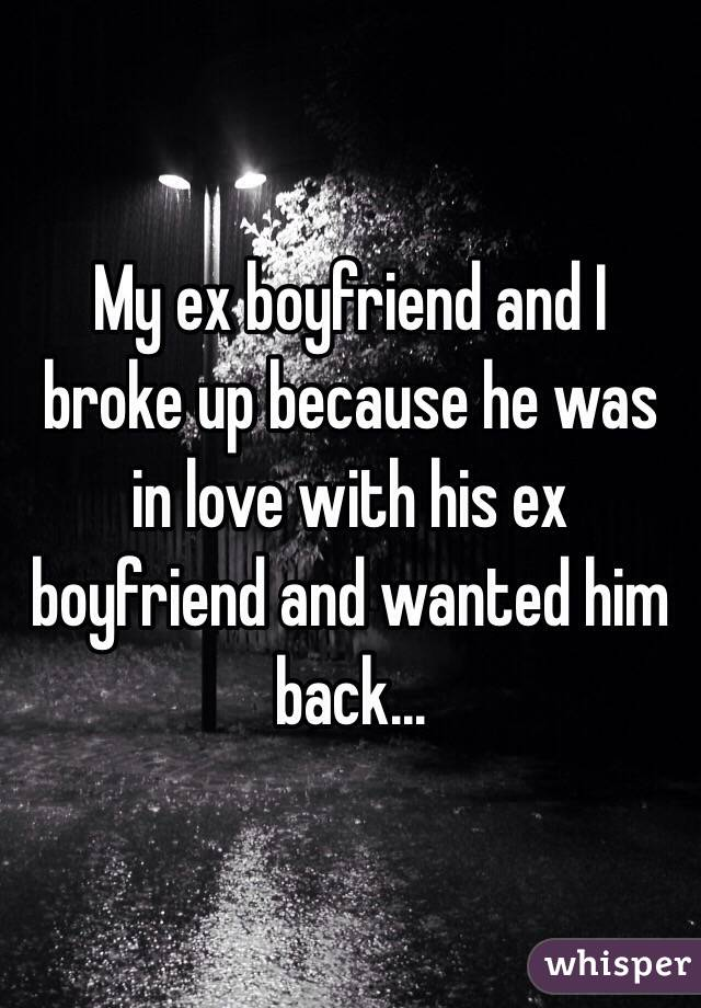 My ex boyfriend and I broke up because he was in love with his ex boyfriend and wanted him back...