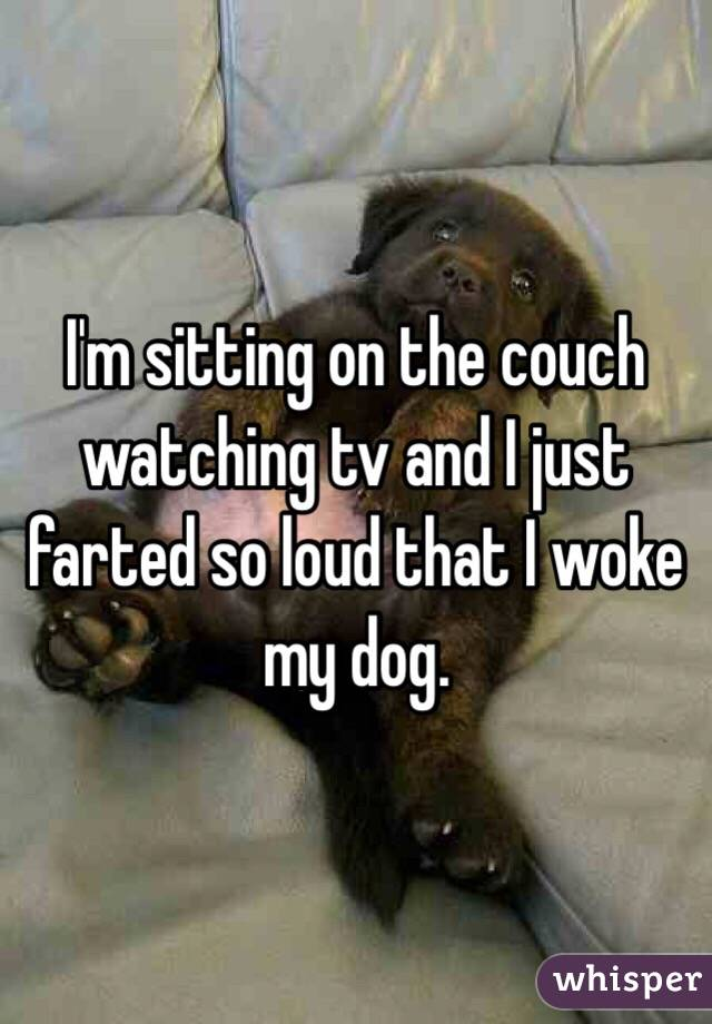 I'm sitting on the couch watching tv and I just farted so loud that I woke my dog.