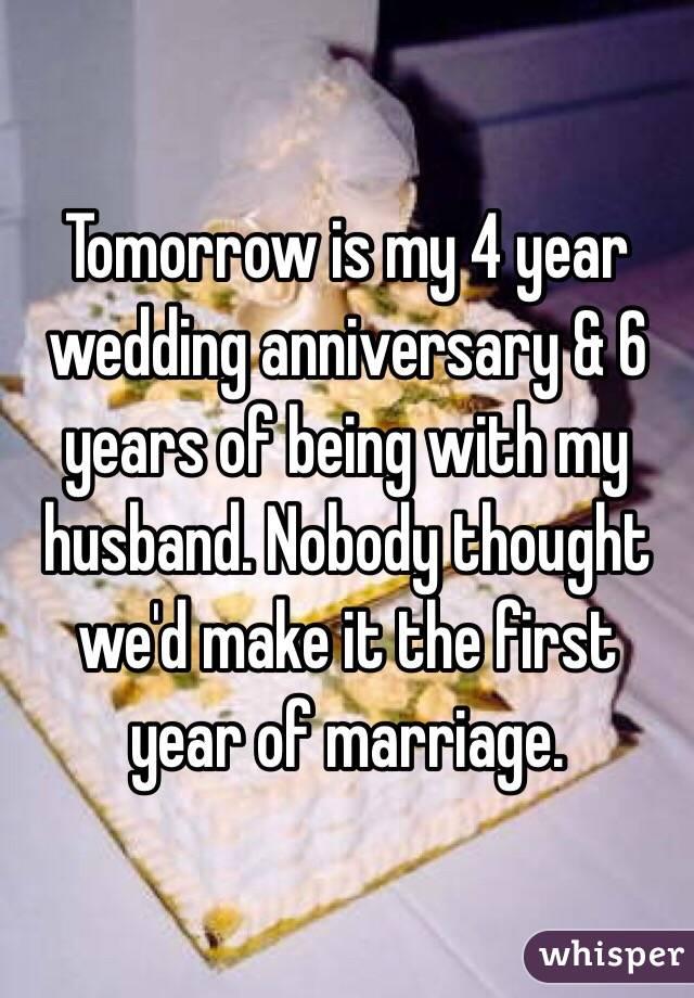 Tomorrow is my year wedding anniversary years of