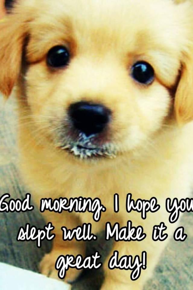Good Morning My Love I Hope You Slept Well : Good morning i hope you slept well make it a great day