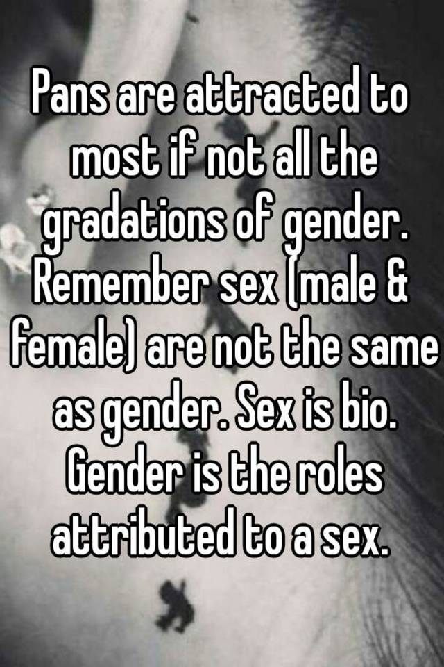 Pans are attracted to most if not all the gradations of gender ...
