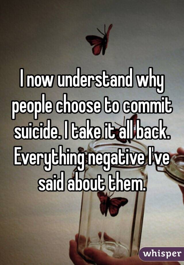 why people commit suicide essay Whether we fail in school or life exams, suicide is not an answer  some  complex cases of suicidal attempts in individuals i've been working on, the  200  000 teenagers worldwide commit suicide while about 4 million adolescents  attempts it.