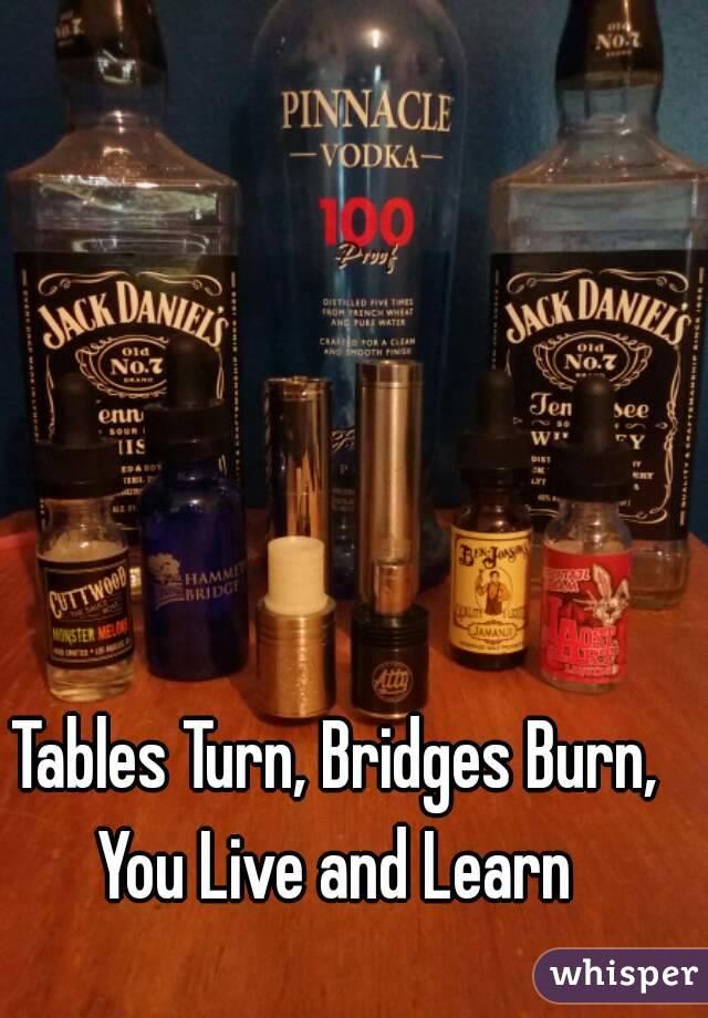 Bridges burn. Tables turn. You live and learn. | Splendid ...
