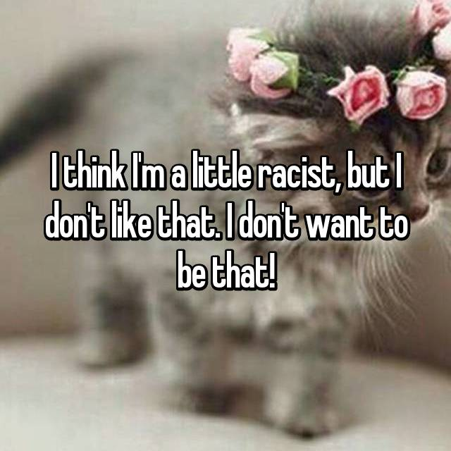 I think I'm a little racist, but I don't like that. I don't want to be that!