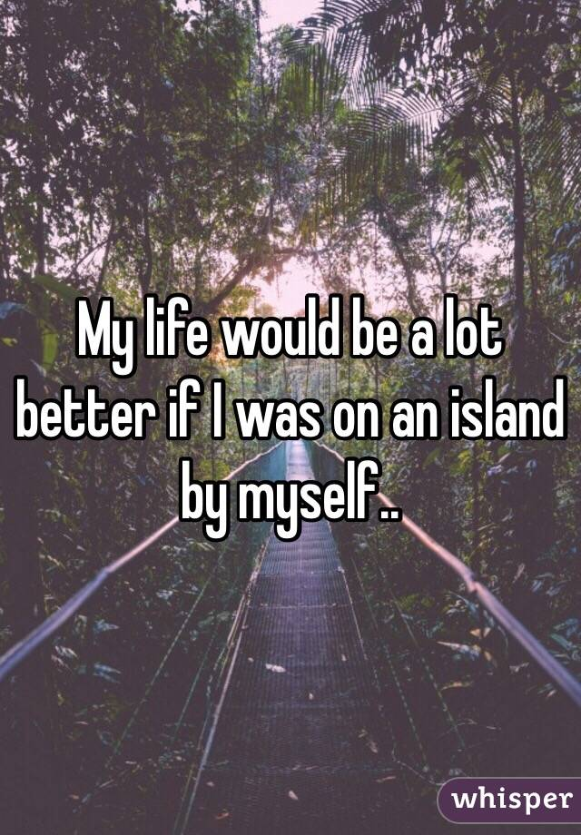 My life would be a lot better if I was on an island by myself..