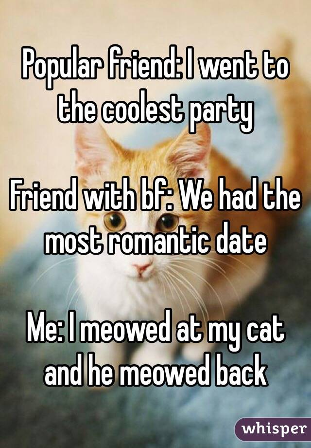 Popular friend: I went to the coolest party  Friend with bf: We had the most romantic date  Me: I meowed at my cat and he meowed back
