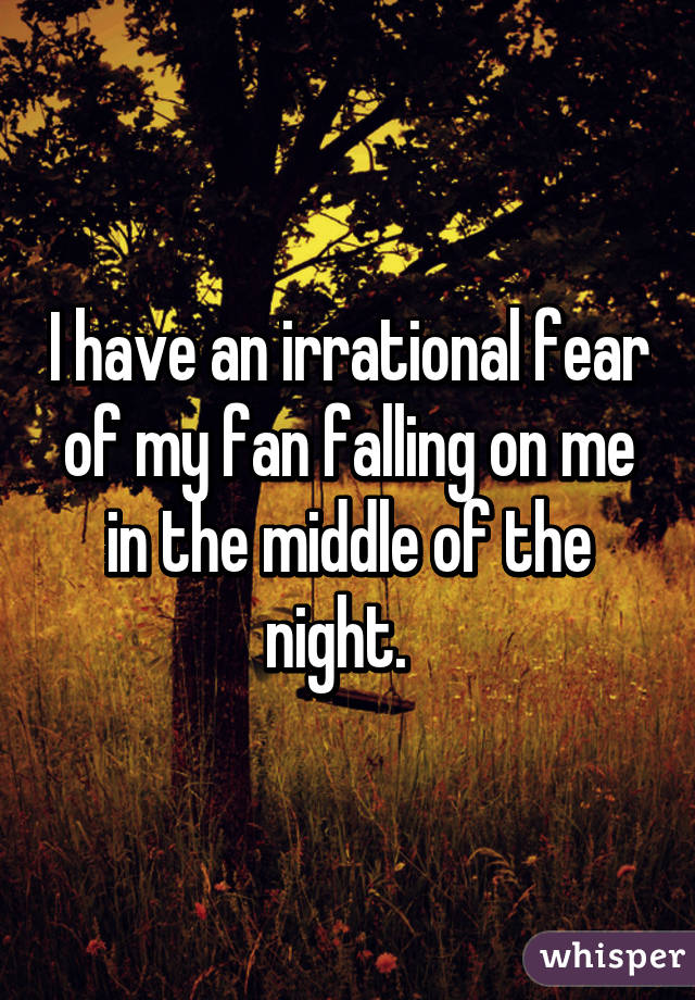 I have an irrational fear of my fan falling on me in the middle of the night.