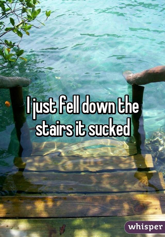 I just fell down the stairs it sucked