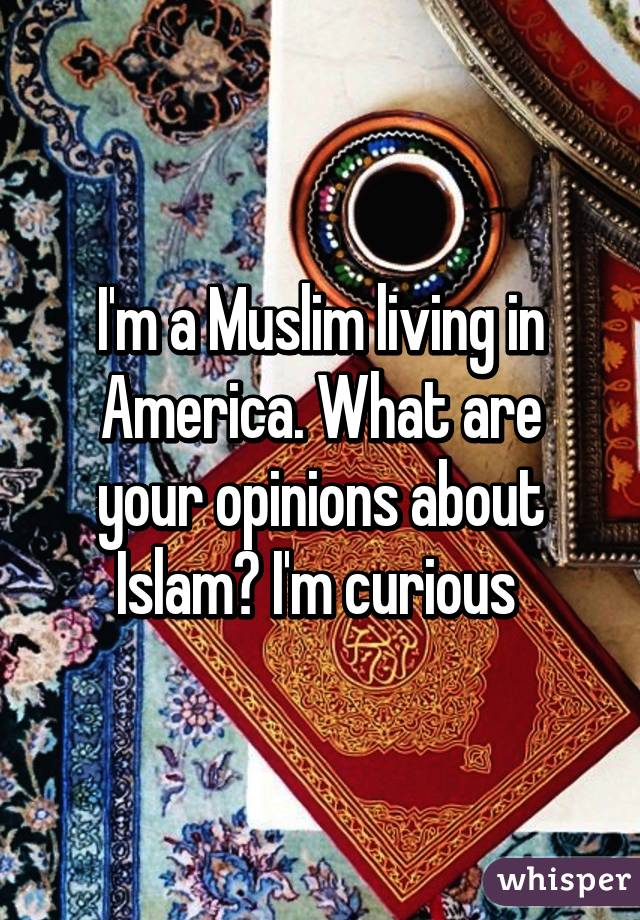 I'm a Muslim living in America. What are your opinions about Islam? I'm curious
