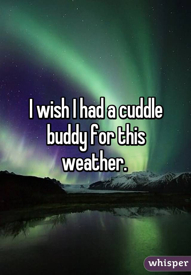 I wish I had a cuddle buddy for this weather.