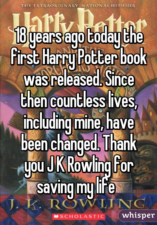 Harry Potter Book Year Released ~ Years ago today the first harry potter book was