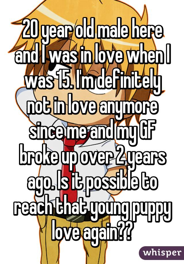 20 year old male here and I was in love when I was 15. I'm definitely not in love anymore since me and my GF broke up over 2 years ago. Is it possible to reach that young puppy love again??