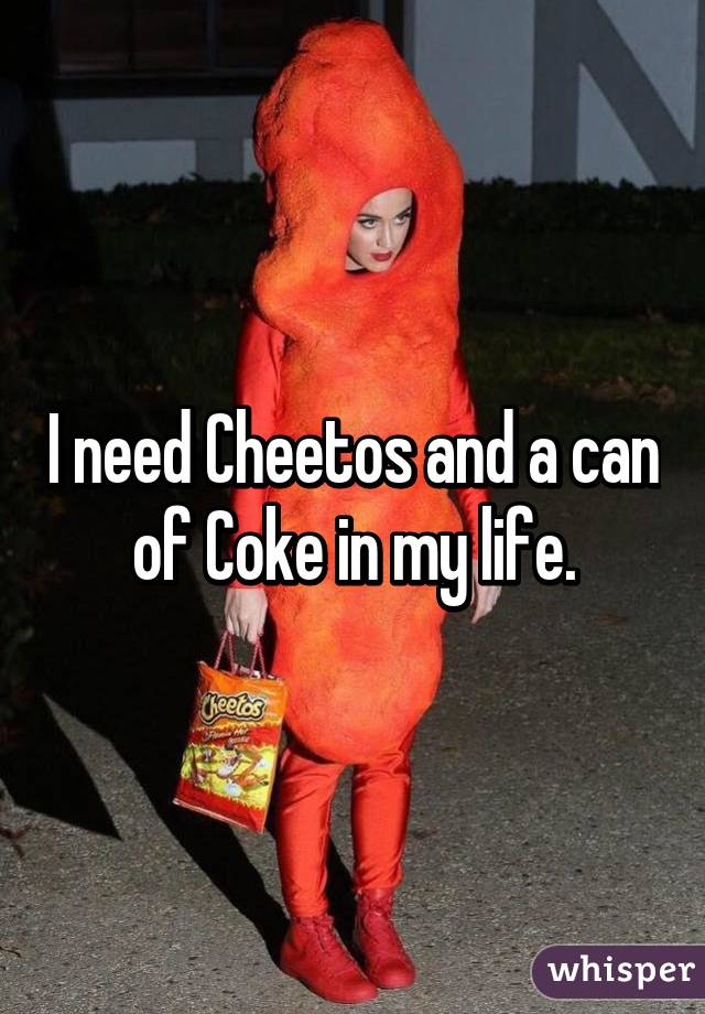 I need Cheetos and a can of Coke in my life.