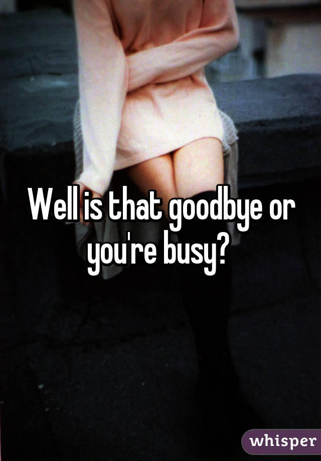 Well is that goodbye or you're busy?