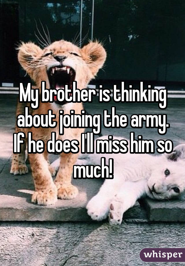 My brother is thinking about joining the army. If he does I'll miss him so much!