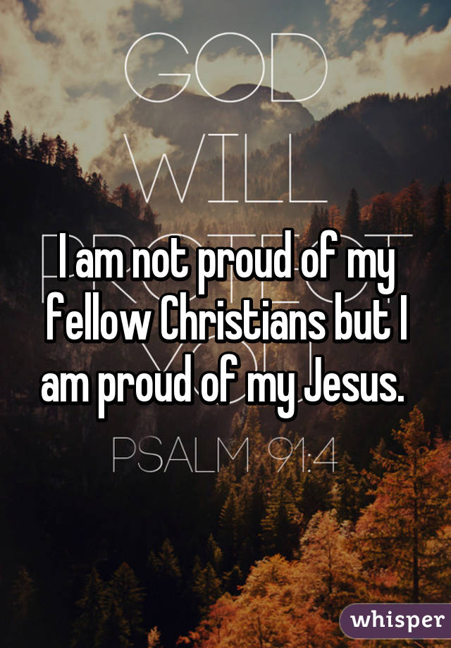 I am not proud of my fellow Christians but I am proud of my Jesus.